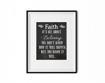 Instant Download-Faith & Belief Motivating Quote on Chalkboard Background