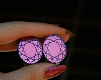 Oval Gem Stone Stud Earrings (laser cut)