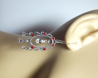 Swarovski Red Rhinestone Drop Earrings, Christmas Gift, Mom Sister Grandmother Jewelry Gifts, ONLY 1, Cocktail, Wedding