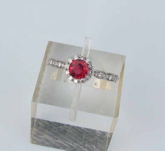 Ruby Engagement Ring In 14k Gold and Diamond Halo Setting Matching Band Available Bridal Jewelry Wedding Set