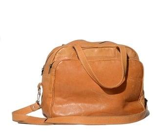 Honey Brown Leather Travel Bag Carry On Cross Body Messenger Bag