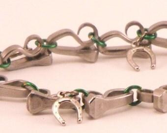 Horseshoe Nail Bracelet with Green links and horseshoe charms