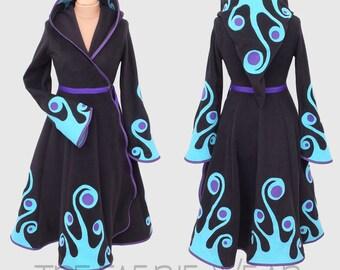 Swirly Plain Fleece 'Tournedot' jacket. Length 6, Positively Pixie Hood, Sidhe sleeves.