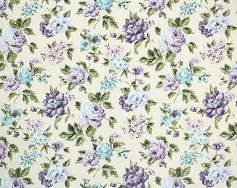 Retro Wallpaper by the Yard 60s Vintage Wallpaper - 1960s Purple and Aqua Rose Floral on Cream