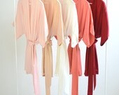 Samantha Silk Kimono Bridal Robe Bridesmaids Robes in Strawberries & Cream Colors - pink, peach, ivory, coral, garnet red