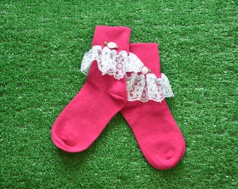 Hot Pink -  Lace Socks with Rose for Little Girls - Size 6-7 1/2 (XS) - US Shoe Size 6-11