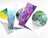 POSTCARDS - set of 5 blank abstract watercolor cards