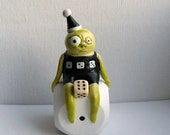 Polymer Clay Sculpture - Lucky Dice Gnome - Mixed Media Original - Folke The Lucky Gnome - OOAK