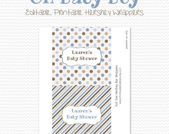 Baby Boy Candy Bar Wrapper, Candy Bar Label, Chocolate Bar Label, Party Favor, Boy Baby Shower, Blue and Brown - Editable Printable, Instant