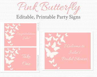 Welcome Signs, Pink Butterfly Bridal Shower Decor, Wedding, Birthday Party Decoration, Baby Shower -- Editable, Printable, Instant Download