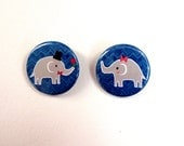 """Adorable Elephant Couple His and hers pink red flower - 1.25"""" Pinback Button or Magnet Set of 2"""