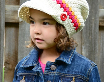 CROCHET PATTERN - Newsboy Slouchy - crochet slouchy hat pattern, crochet hat pattern (Toddler Child Adult sizes) - Instant PDF Download