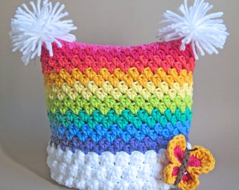 CROCHET PATTERN - Over the Rainbow - crochet rainbow hat, square hat, crochet hat pattern (Infant - Adult sizes) - Instant PDF Download