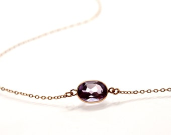 14k Solid Gold Lavender Amethyst Chain Necklace - Small Gemstone Necklace  - Bridesmaids Jewelry -