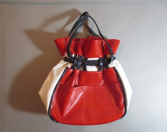 1960s Vintage MOD Vinyl Purse //  Red White & Blue // Draw String Top // Outside Pockets