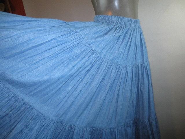 big circle broomstick skirt light denim three by