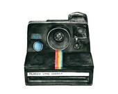 vintage camera watercolor giclee art print // POLAROID LAND CAMERA // 8x10 print -- home decor