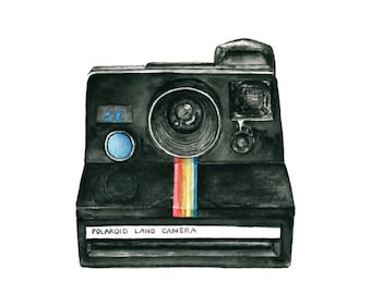 vintage camera watercolor giclee art print // POLAROID LAND CAMERA // 8x10 print -- home decor