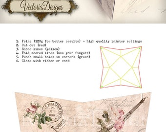 Paris pyramid box vintage printable images instant download digital collage sheet VD0397