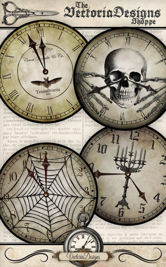 Halloween Clocks printable party props decor skull spider bat paper crafting craft instant download digital collage sheet - VDCLHA0929