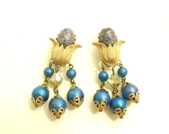 Blue Beaded Dangle Clip Earrings - Glass Cabochons with Gold Tone Flowers
