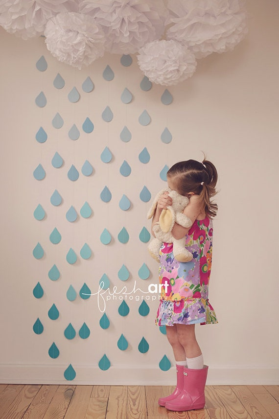 one raindrop garland strand baby sprinkle decorations paper. Black Bedroom Furniture Sets. Home Design Ideas