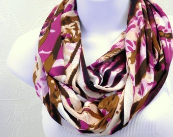 The Wild One Zebra Infinity Scarf in Magenta Purple and Tan Jersey Knit Double Loop Scarf Handmade Fashion by Thimbledoodle
