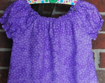 Girls Short Sleeve Polka Dot Peasant Blouse, Sizes 3 Months to Girls Size 12