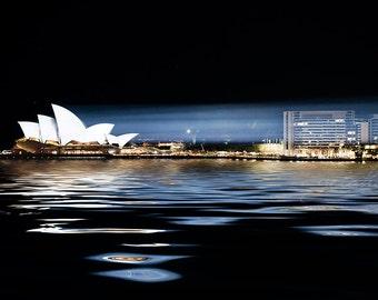 Sydney photograph Sydney Opera House Sydney Harbour Australia fine art photo wall decor black night