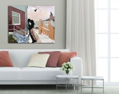 Couple in Love, Giclee Art Print, Bedroom Decor, Large Painting, Giclee on Canvas, Romantic Art