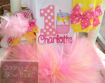 FREE US SHIPPING - Baby Girl First Birthday Tutu Outfit -- Pink Lemonade -- lemonade birthday outfit in hot pink, pink & yellow mason jar