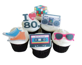 80s THEME PARTY - 12 Edible Cupcake Toppers - Birthday Party Decorations - Cake Topper - DIY Party Decorations