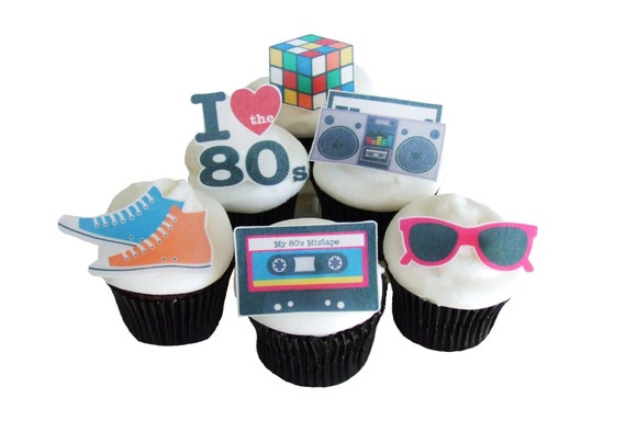 80s theme party 12 edible cupcake toppers birthday for 80s theme party decoration