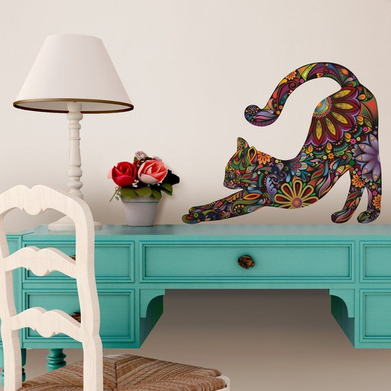stretching cat wall sticker repositionable by mywallstickers cat wall stickers fish wall decor for kids rooms