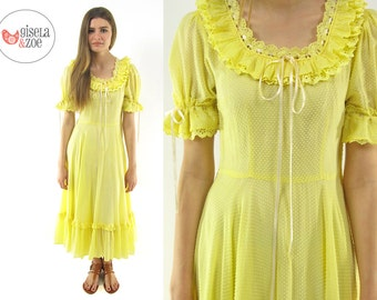 40s Swiss Dot Party Dress | Yellow 40s Cotton Ruffle Dress Sheer Day Dress • xs • sm
