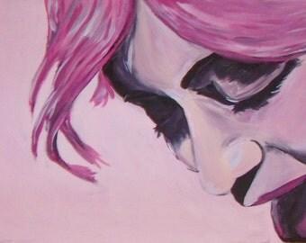 Sugar- acrylic painting, pink, lick, graffitti