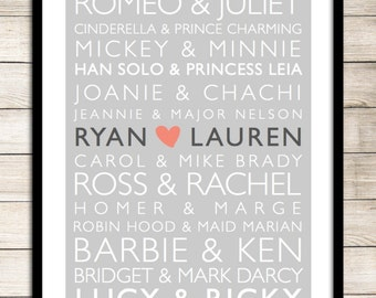 Famous Couples Personalized Print_ Digital- Famous Couples - Wedding Gift - Wedding -  Anniversary - Love