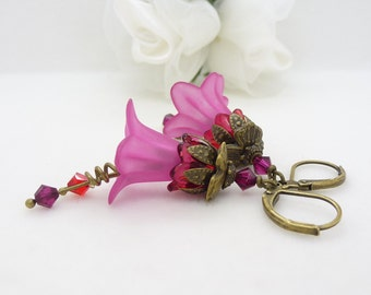 Red and pink earrings, bright hot pink lucite flower jewelry, antique bronze vintage style gardeners nature jewelry