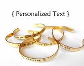 Unisex Custom brass Bracelet - Personalized Bracelet - hand stamped jewelry bangle cuff