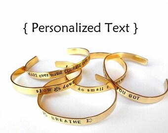 Unisex Custom brass Bracelet - Personalized Bracelet - hand stamped jewelry bangle cuff, handmade jewelry