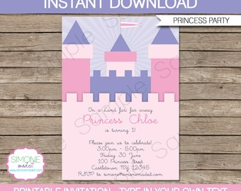 Editable Princess Invitation Template - Birthday Party - INSTANT DOWNLOAD with EDITABLE text - you personalize at home