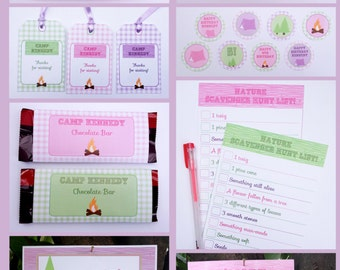 Glamping Party Invitations & Decorations - full Printable Collection - EDITABLE text that you personalize at home - INSTANT DOWNLOAD
