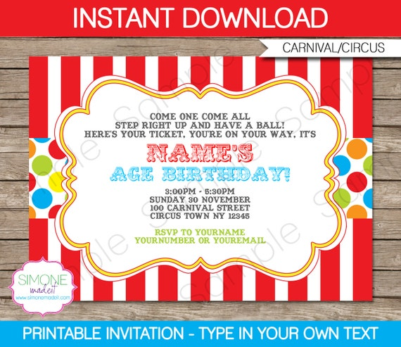 carnival invitation template birthday party carnival party