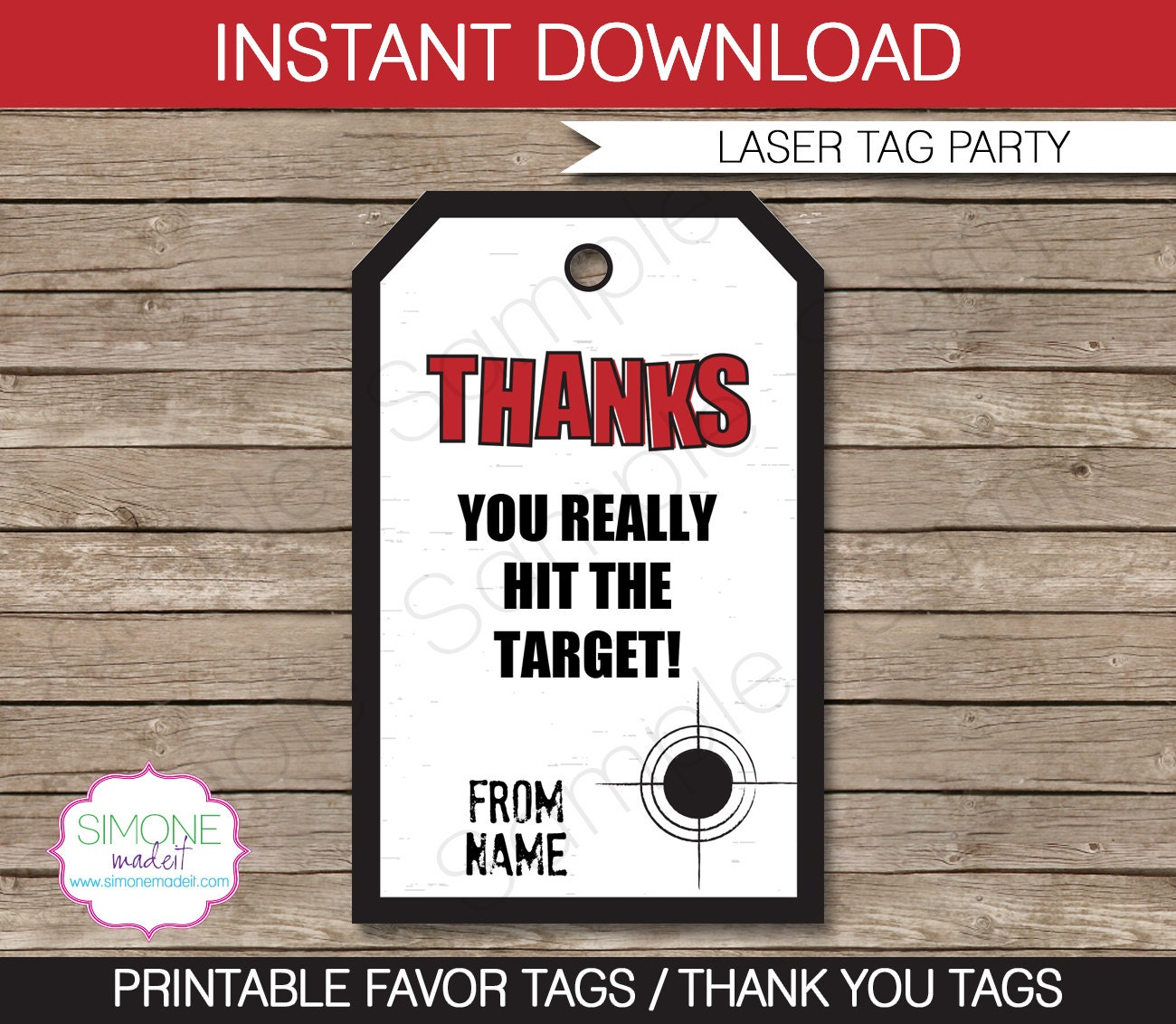 laser tag favor tags thank you tags birthday party favors