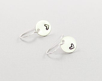 Hand stamped earrings: sterling silver heart earrings, minimalist jewelry love for her stamped silver earrings