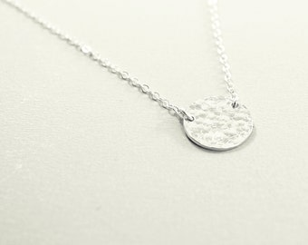 Silver necklace - sterling hammered necklace metal disc pendant, sterling silver necklace, minimalist jewelry, simple necklace