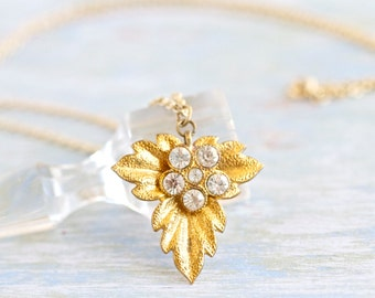 Antique Golden Leaf with Rhinestones Necklace - Autumn Delight -