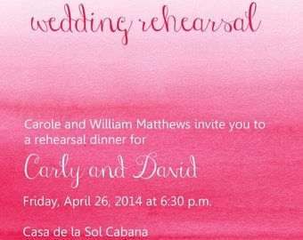 Digital ombre pink wedding rehearsal invitation