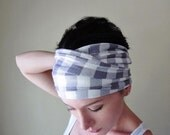 GINGHAM Print Head Scarf - Pale Lilac and White Jersey Headband - Checkered Hair Wrap - Activewear Hair Accessory - Extra Wide Head Scarf