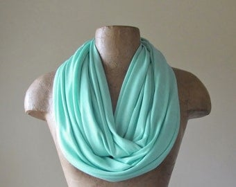 MINT Circle Scarf - Jersey Loop Scarf - Super Lightweight Mint Infinity Scarf - Womens Scarves